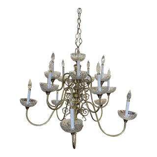 Vintage Mid 20th Century Williamsburg Glass and Crystal Chandelier For Sale