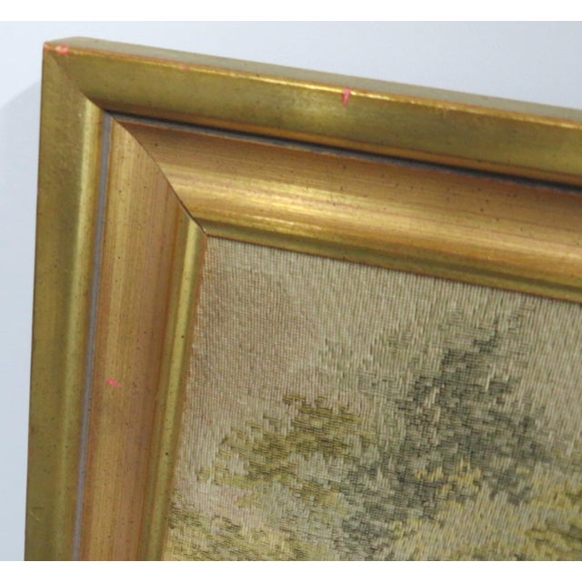 Large French style tapestry of a courtyard scene in gold painted frame.