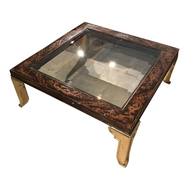 Asian Wood And Brass Coffee Table