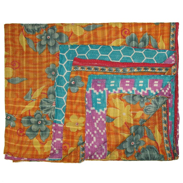 Vintage Orange & Pink Kantha Quilt - Image 1 of 3
