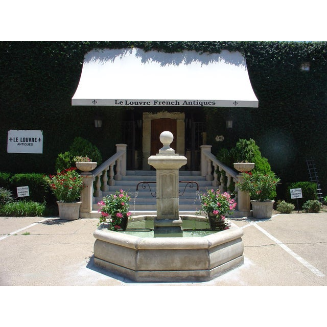 Carved Octogonal Limestone Center Fountain from Provence For Sale - Image 4 of 5