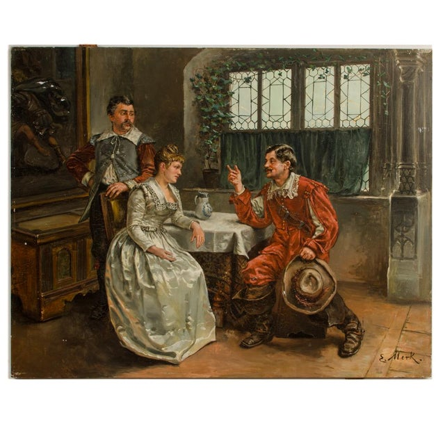"""Mid 19th Century """"The Meeting"""" Figurative Victorian Oil Painting by Eduard Merk For Sale - Image 10 of 10"""
