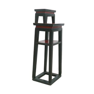 Chinese Black & Red Narrow Side Table Stand For Sale