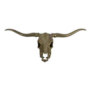 Vintage Large Brass Longhorn Steer Skull Wall Hanging For Sale