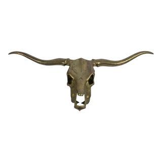 Vintage Large Brass Longhorn Steer Skull Wall Hanging For Sale