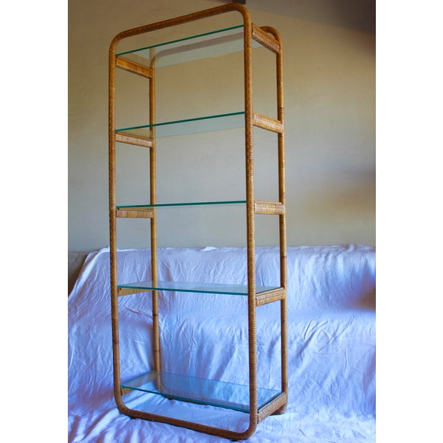 1970s Vintage Milo Baughman Style Italian Rattan Wrapped Cane Bookcase Etagere Wall Unit For Sale - Image 10 of 13