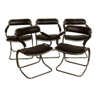 Mid Century Modern Seat 5 Quality Cantilever Tubular Chrome Armchairs For Sale