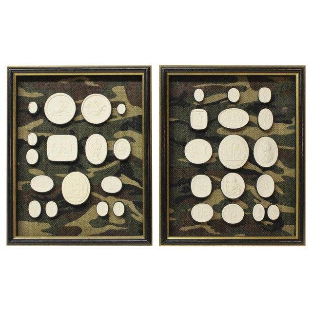 Antique Plaster Framed Camouflage Intaglios - Set of 2 For Sale