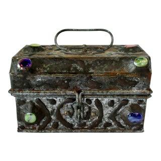Distressed Folk Art Tin Box For Sale
