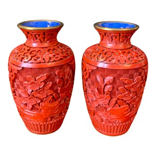 Vintage Chinese Cinnabar Lacquered Miniature Vases-a Pair For Sale