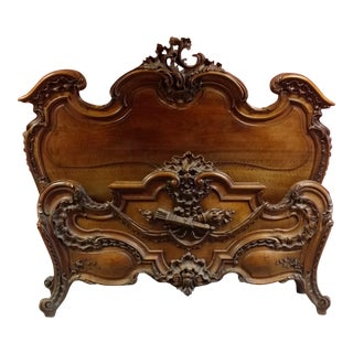 Mid 19th Century Antique Louis XV Style French Bedstead For Sale