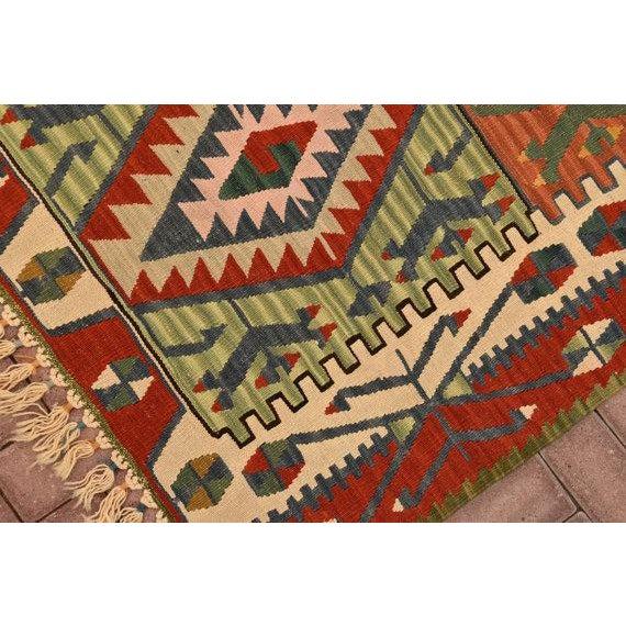 "Turkish Handmade Anatolian Kilim Wool Rug - 3'7"" X 6'2"" For Sale In San Francisco - Image 6 of 6"