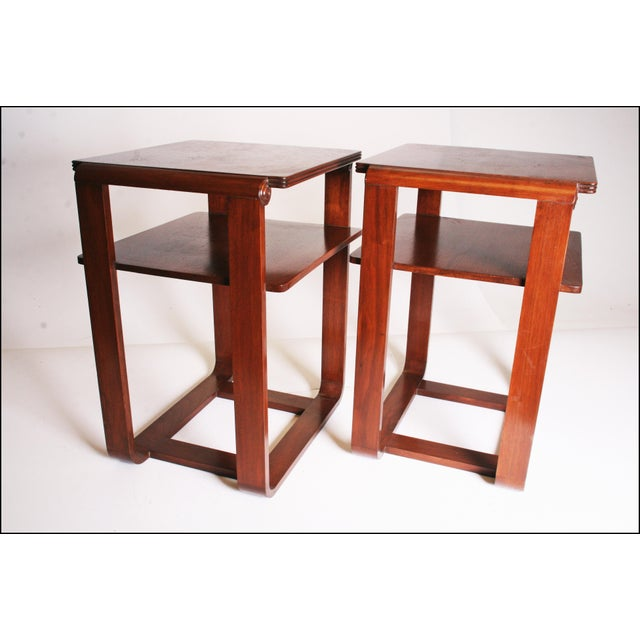 Vintage Art Deco Two Tier Wood Side Tables - A Pair - Image 4 of 11