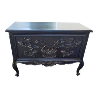 1980's Vintage Black Hand Carved 2 Drawer Commode Chest For Sale