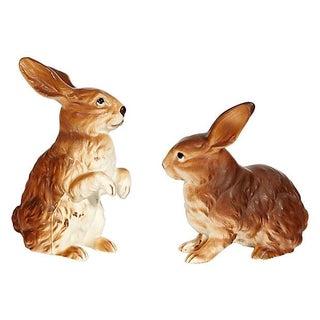 1960s Porcelain Rabbits - A Pair For Sale