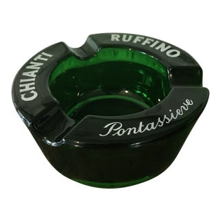Vintage Chianti Ruffino Pontassieve Green Glass Ashtray For Sale