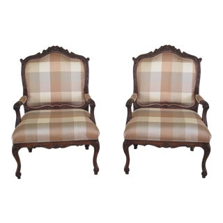 Modern Harden French Louis XV Style Upholstered Open Arm Chairs- A Pair For Sale