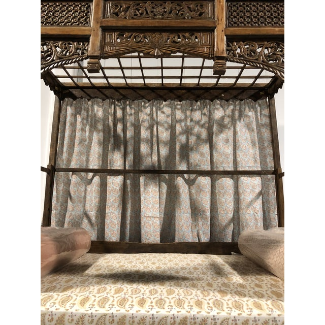 Antique Balinese Indian Boho Chic Teakwood Canopy Daybed in Elizabeth Eakins Fabrics For Sale - Image 4 of 13
