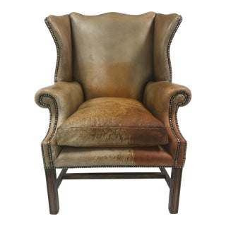 Vintage Leather Wingback Chair For Sale