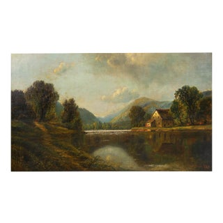 "Antique Large Painting of ""River Landscape"" by Edmund Darch Lewis For Sale"