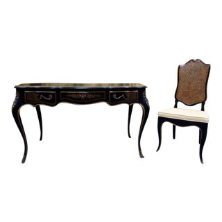 Drexel Leather Top Louis XV Writing Desk & Chair For Sale