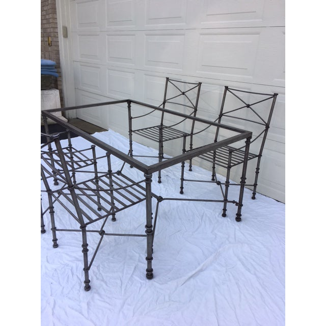 Silver Neoclassical Iron Table & Chairs For Sale - Image 8 of 11