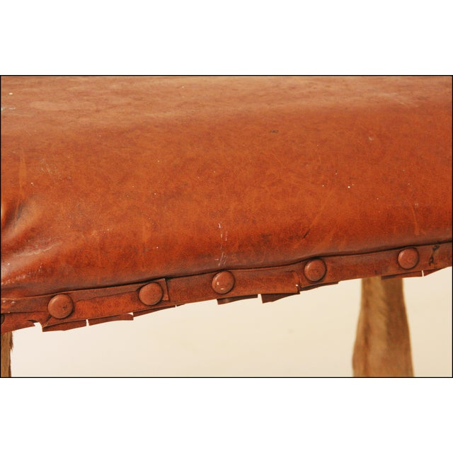 Vintage Brown Vinyl Foot Stool - Image 8 of 11