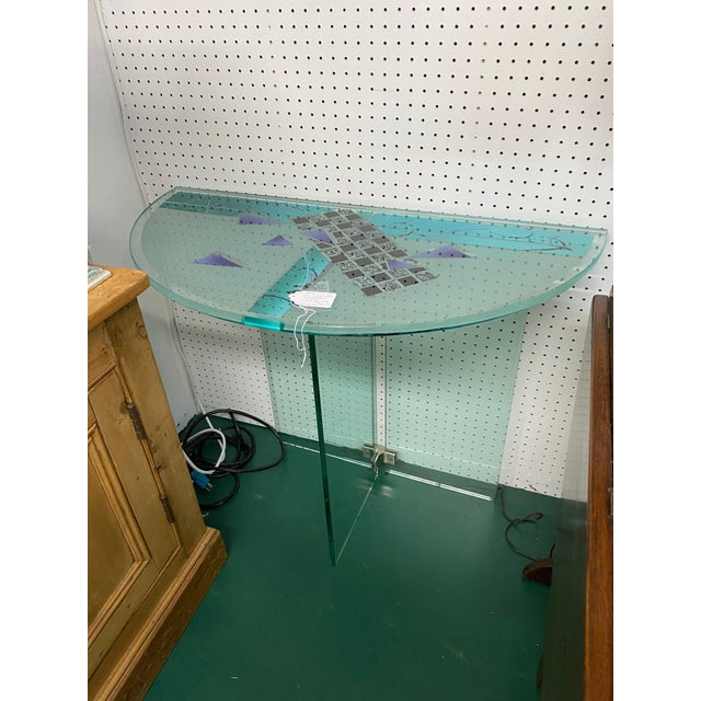 Glass Contemporary Hand Created Reverse Painted Glass Demi-Lune Console Table For Sale - Image 7 of 8