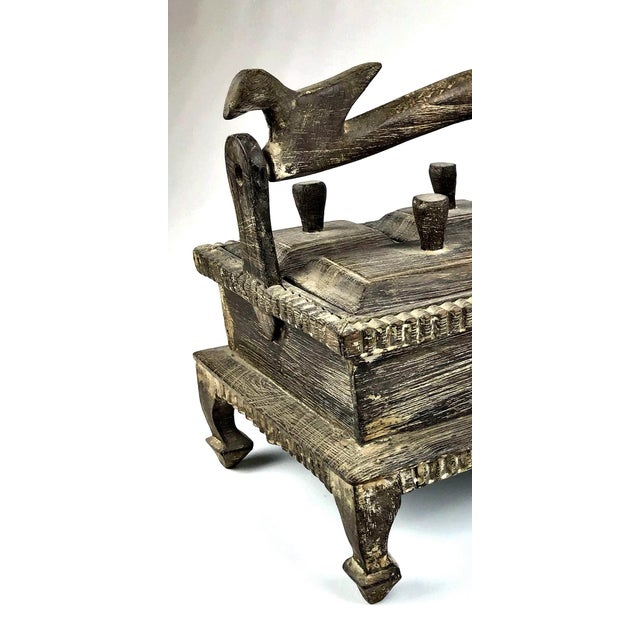 1900s Asian Hand Carved Wood Spice Box For Sale In Boston - Image 6 of 11