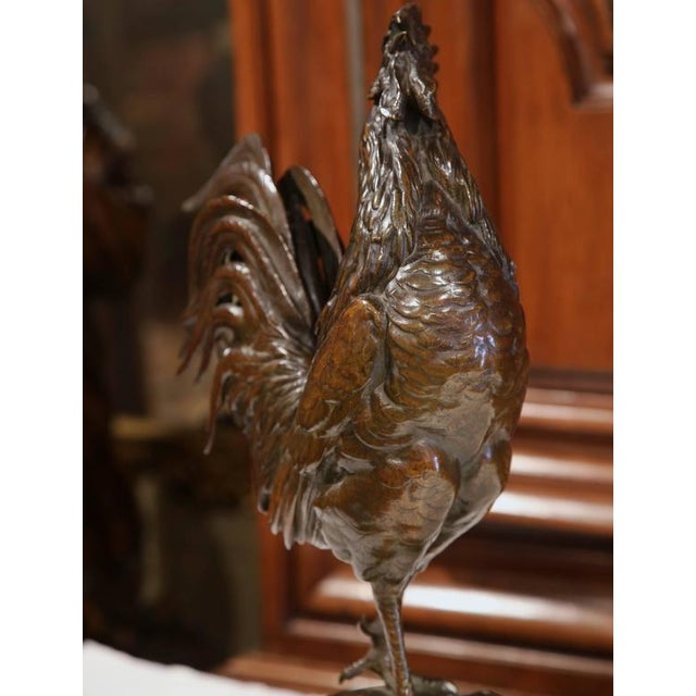 Country Large 19th Century French Patinated Bronze Rooster Signed Auguste Cain For Sale - Image 3 of 10