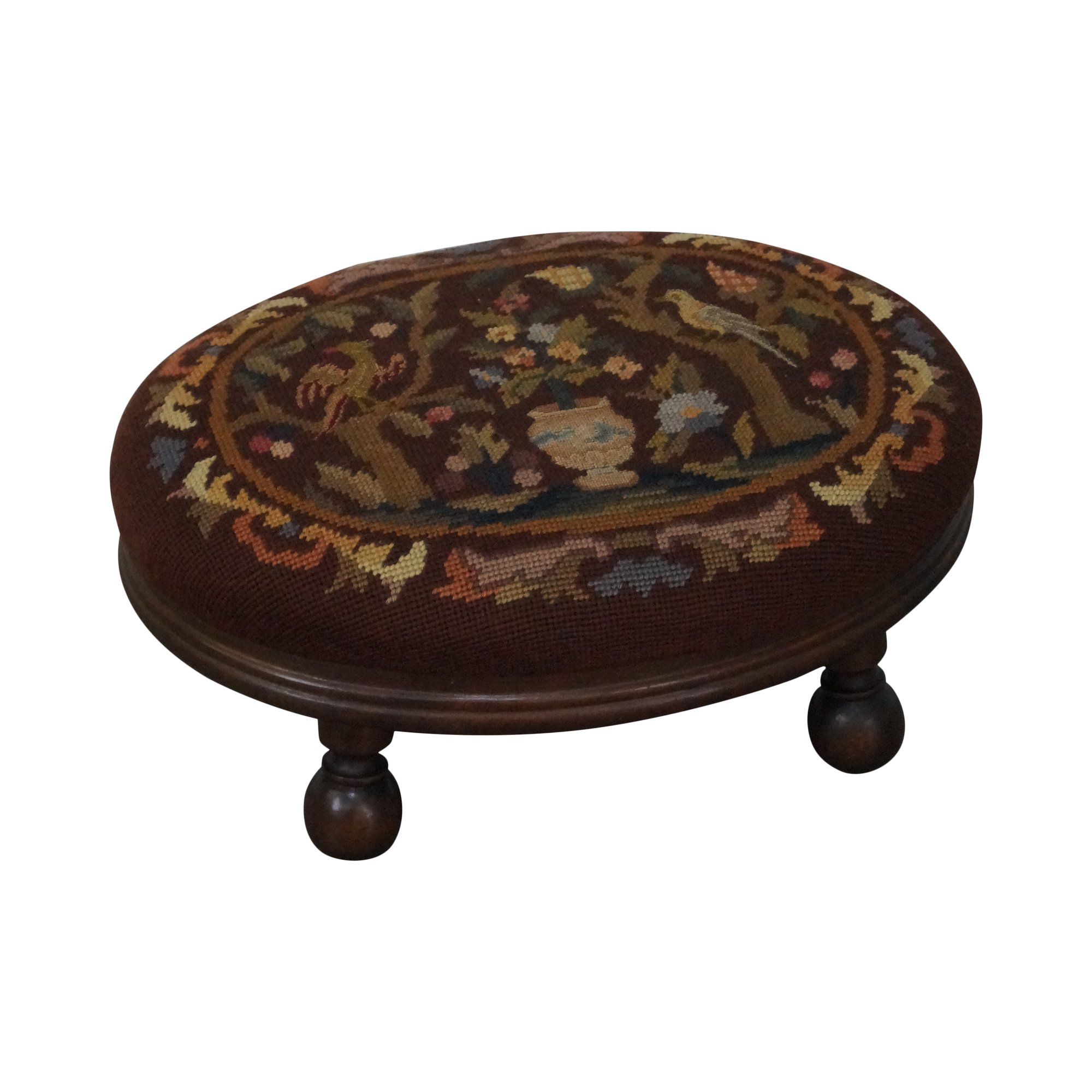 Antique Needlepoint Renaissance Revival Foot Stool   Image 1 Of 10