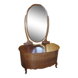Late 19th Century Antique Oval Dresser With Mirror For Sale