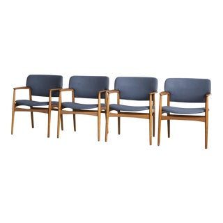 1950s Mid-Century Modern Ejnar Larsen & Aksel Bender Madsen Side Chairs - Set of 4 For Sale
