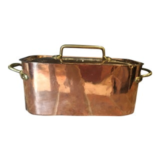 19th Century French Copper Fish Kettle Casserole Stew Pot For Sale