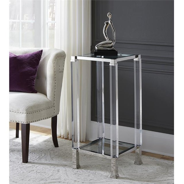 Contemporary Kenneth Ludwig Chicago Claire Acrylic & Chrome Pedestal Table For Sale - Image 3 of 5
