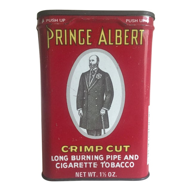 "Vintage 1970's ""Prince Albert Crimp Cut"" Lithograph Tobacco Tin Oval Box For Sale"