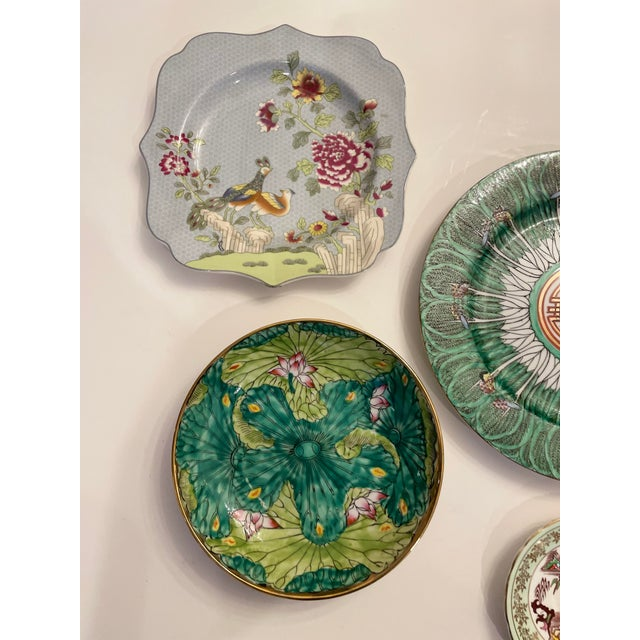 Japanese Green Asian Mixed Decorative Plates- a Set of 6 For Sale - Image 3 of 8