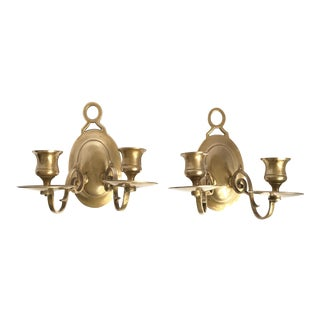 Vintage Candlestick Holders Brass Sconces - A Pair For Sale