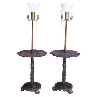 Pair Chinoiserie Paint Decorated Floor Lamps For Sale