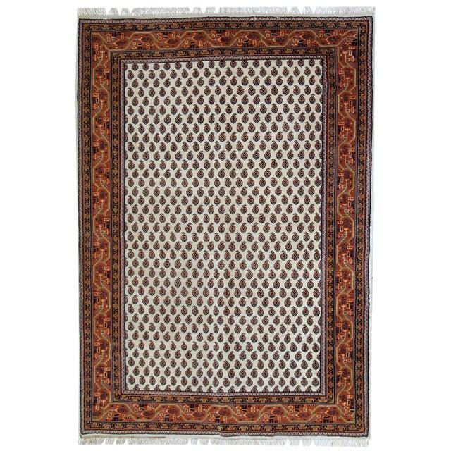 Vintage Handmade Indian Seraband Style Rug - 4′ × 5′8″ For Sale