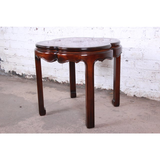 Chinoiserie Drexel Heritage Carved Mahogany Hollywood Regency Chinoiserie Clover-Shaped Occasional Table For Sale - Image 3 of 8
