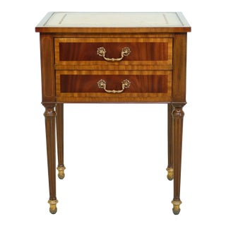 Maitland Smith Leather Top Mahogany 2 Drawer Nightstand For Sale