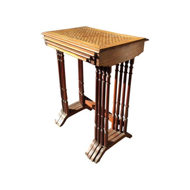 1820s English Walnut Nesting Tables, Signed - 4 For Sale