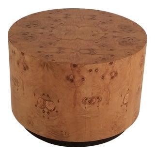 Milo Baughman Exotic Olive Burl Wood Drum End Table For Sale