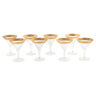Set of Eight Mid-Century Modern Martini Glasses/Champagne Flutes, Dorothy Thorpe For Sale