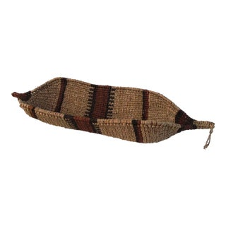 Vintage Ethiopian Gambella Canoe Basket For Sale