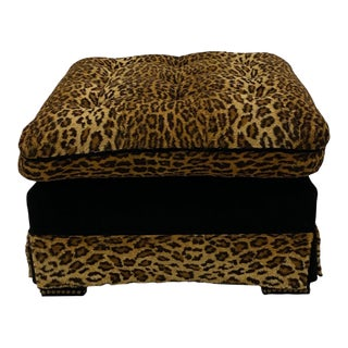 Custom Made Black Cut Velvet and Animal Print Ottoman For Sale