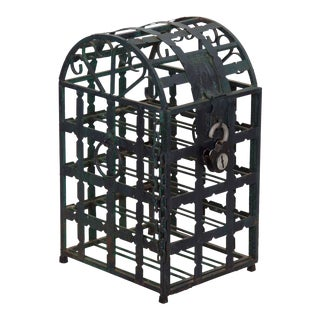 20th Century Vintage Antique French Green Metal Wine Cage Rack