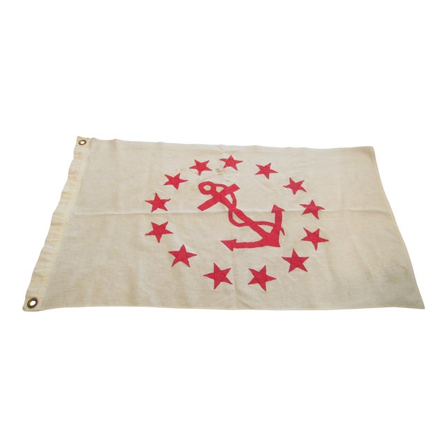 Vintage Rear Commodore Anchor Star Yachting Flag For Sale