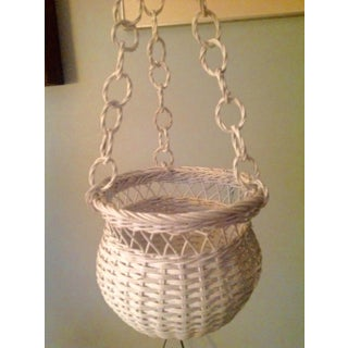 Mid 20th Century White Wicker Hanging Basket Preview